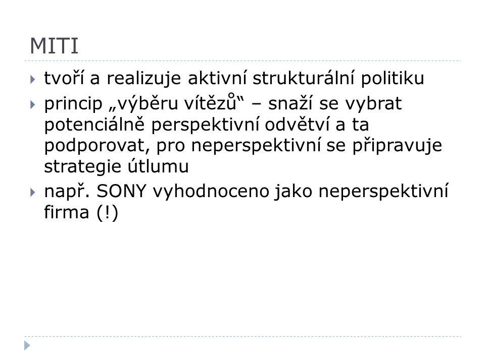 MITI tvoří a realizuje aktivní strukturální politiku