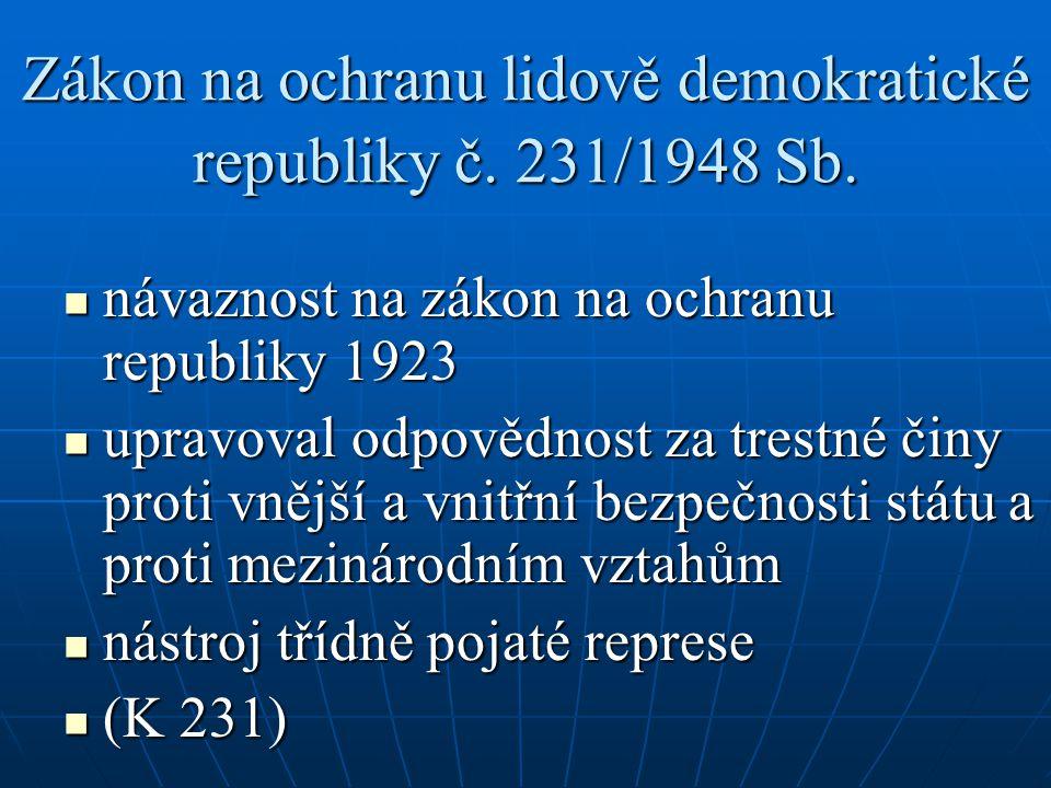 Zákon na ochranu lidově demokratické republiky č. 231/1948 Sb.