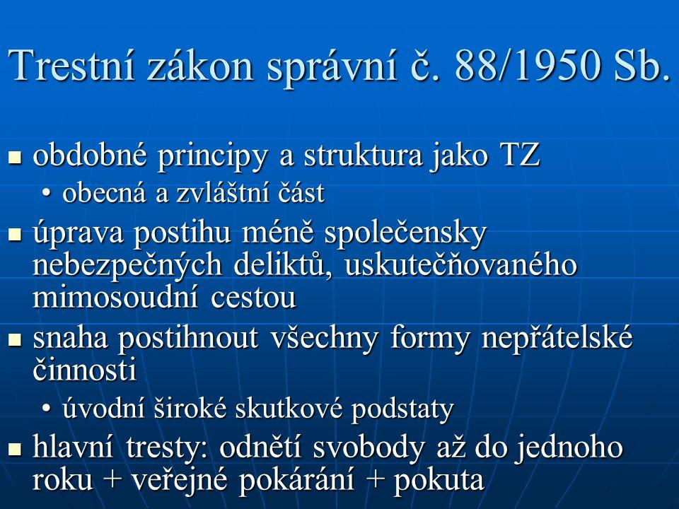 Trestní zákon správní č. 88/1950 Sb.