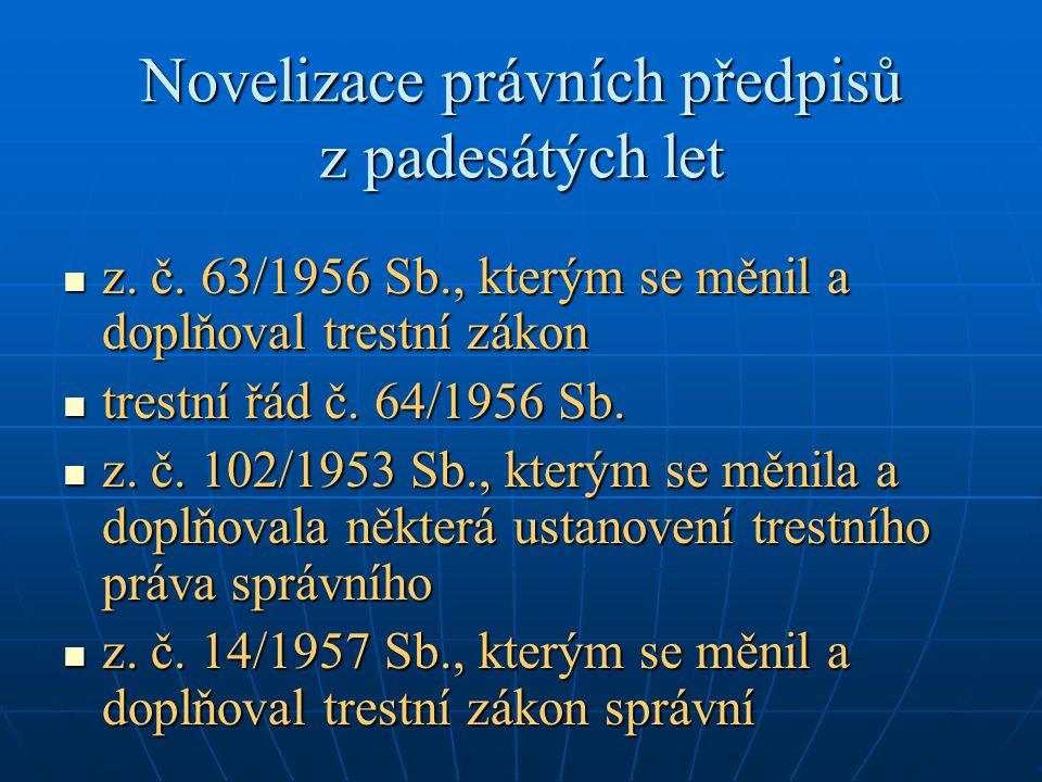Novelizace právních předpisů z padesátých let