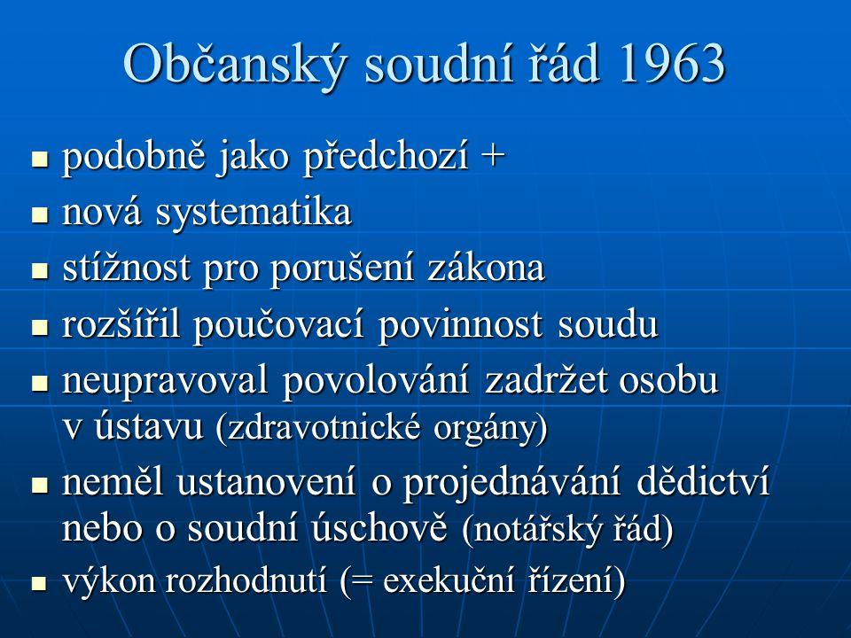 Občanský soudní řád 1963 podobně jako předchozí + nová systematika