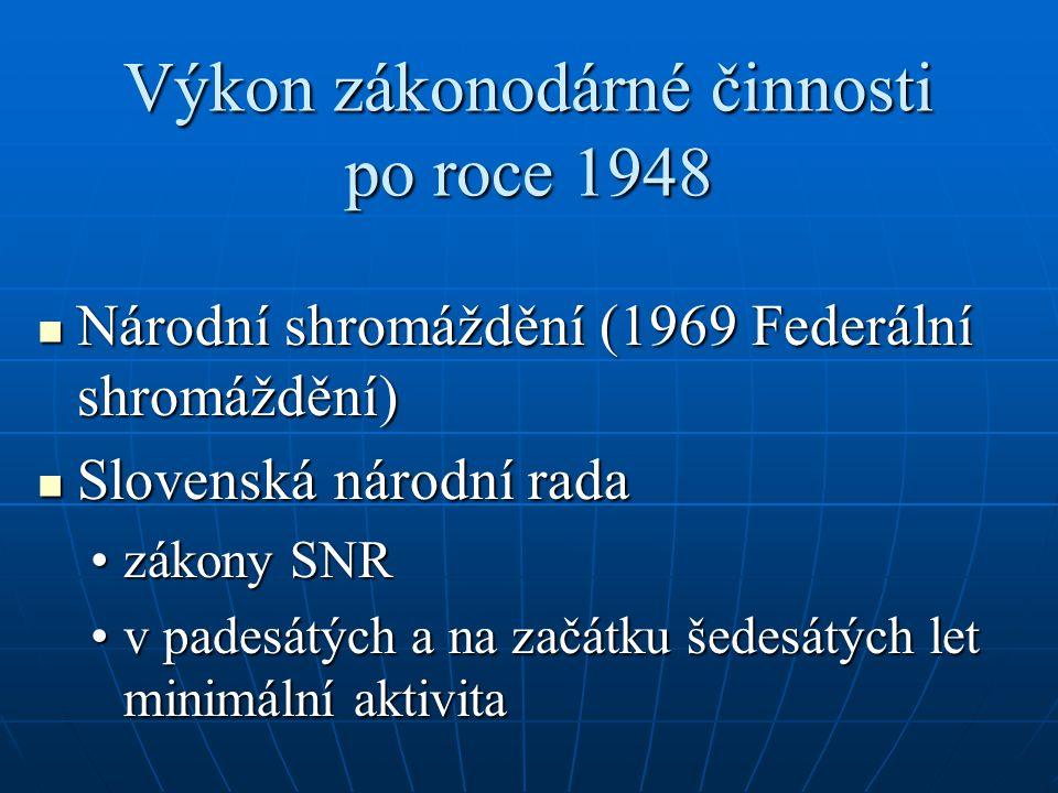 Výkon zákonodárné činnosti po roce 1948