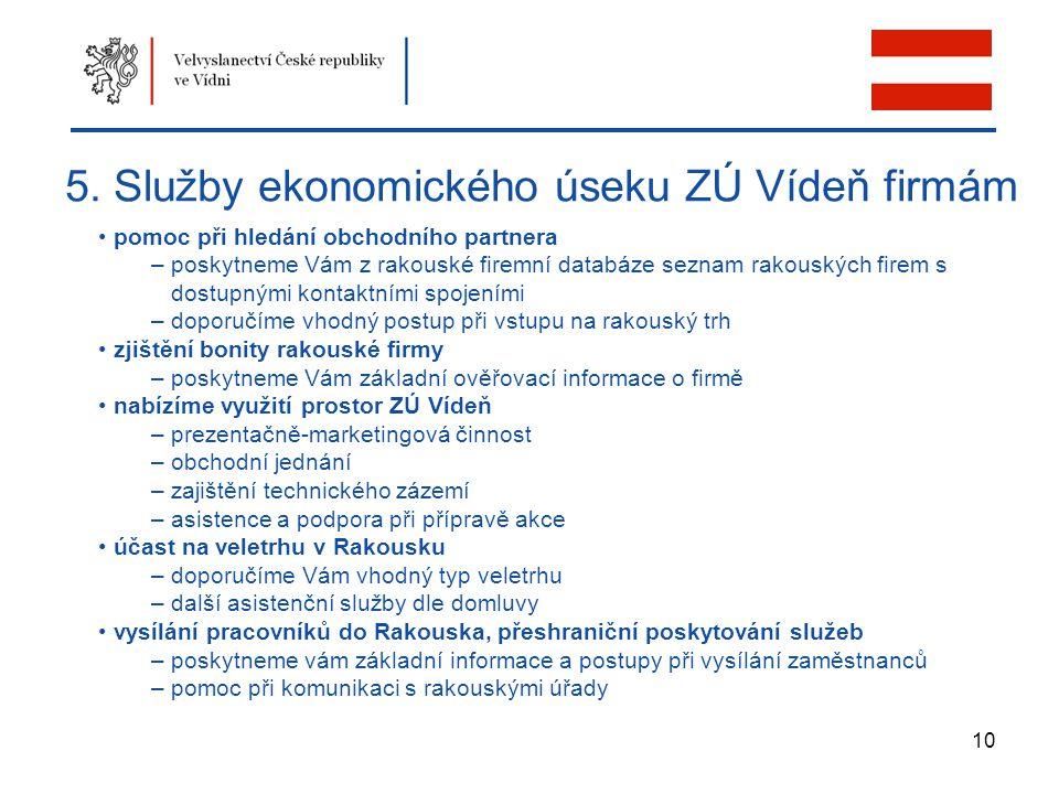 5. Služby ekonomického úseku ZÚ Vídeň firmám