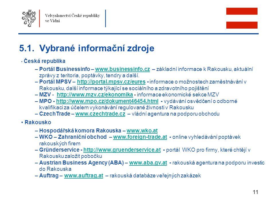 5.1. Vybrané informační zdroje