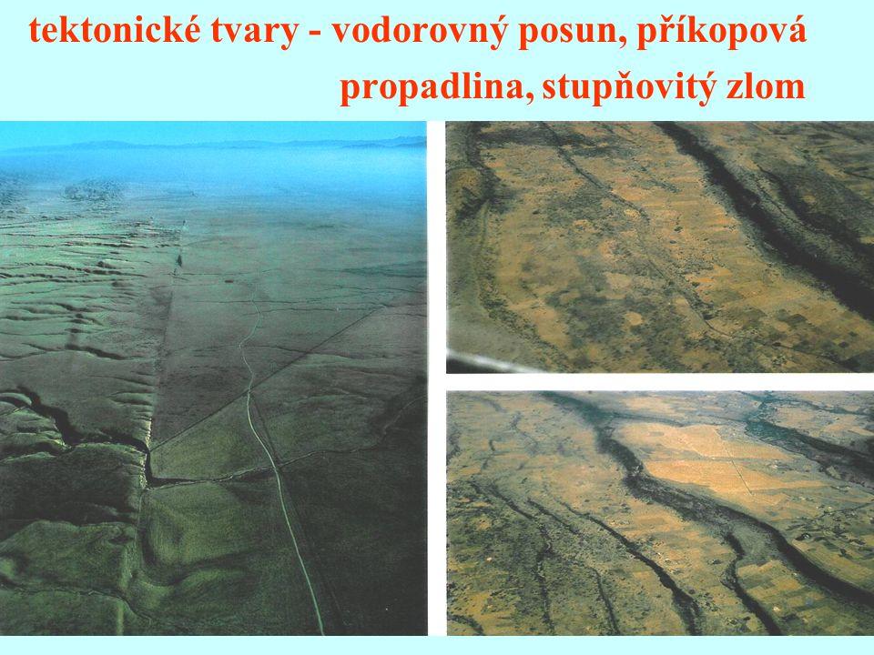 tektonické tvary - vodorovný posun, příkopová