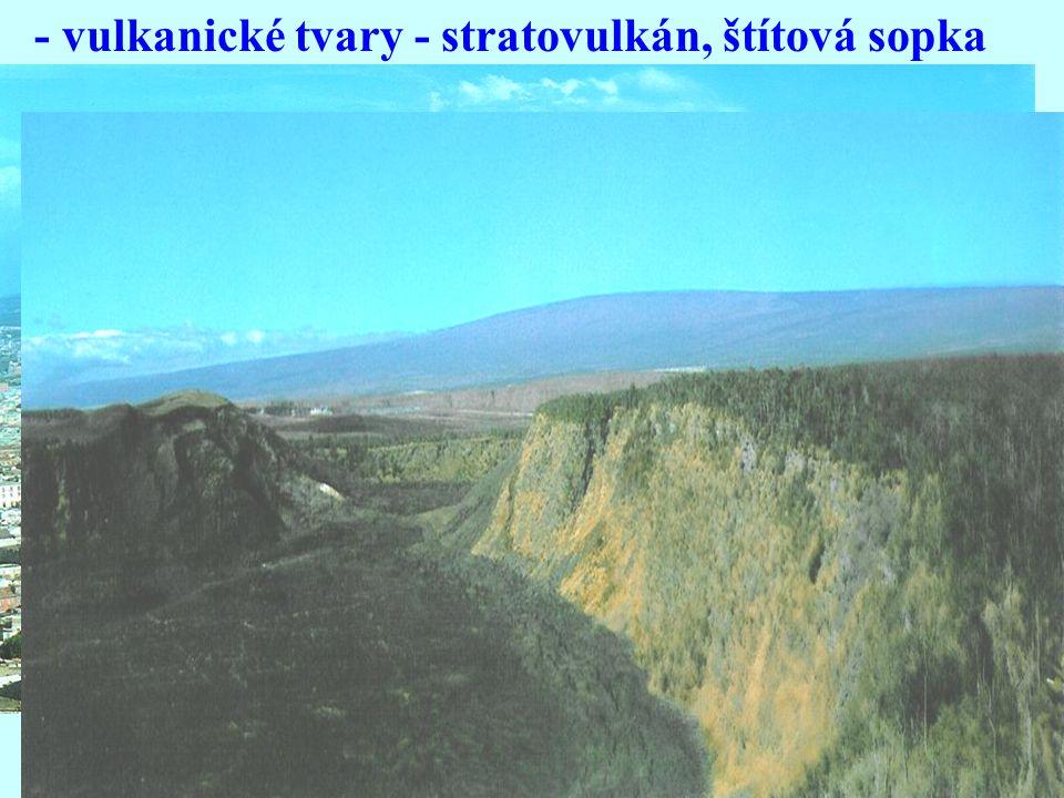 - vulkanické tvary - stratovulkán, štítová sopka