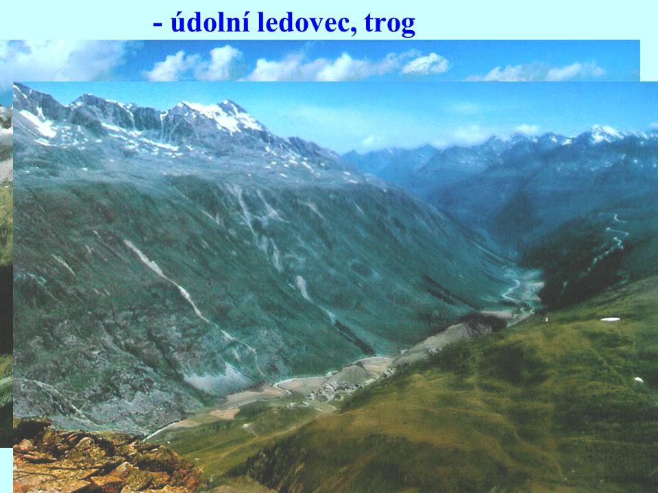 - údolní ledovec, trog