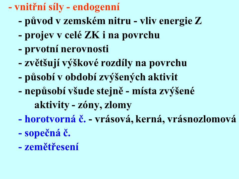 - vnitřní síly - endogenní