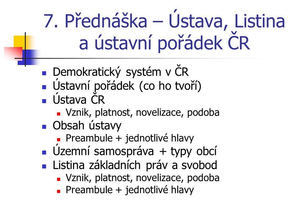 7. Přednáška – Ústava, Listina a ústavní pořádek ČR