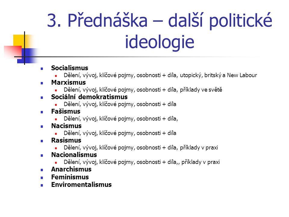 3. Přednáška – další politické ideologie