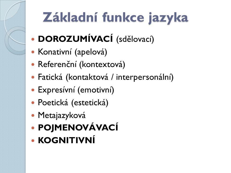 Základní funkce jazyka