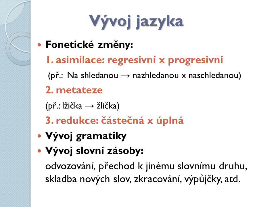 Vývoj jazyka Fonetické změny: 1. asimilace: regresivní x progresivní