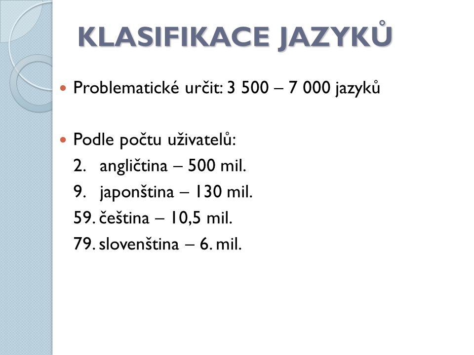 KLASIFIKACE JAZYKŮ Problematické určit: 3 500 – 7 000 jazyků