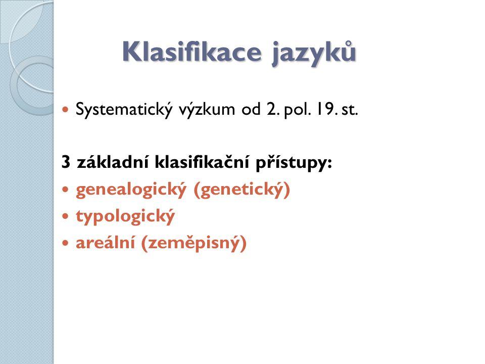 Klasifikace jazyků Systematický výzkum od 2. pol. 19. st.