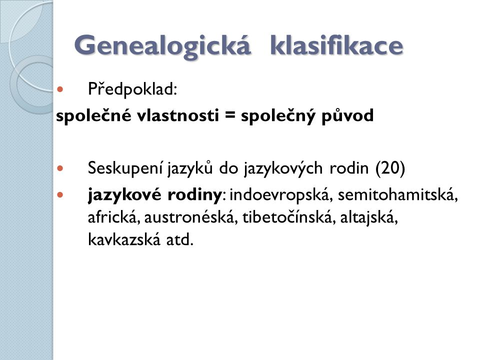 Genealogická klasifikace