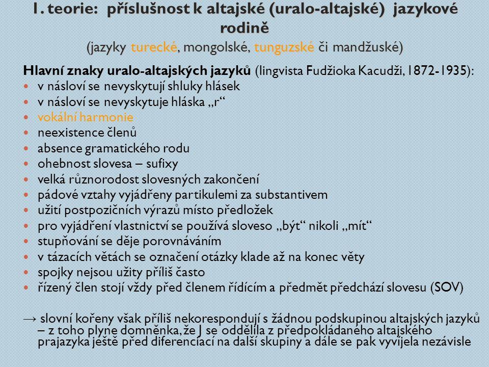1. teorie: příslušnost k altajské (uralo-altajské) jazykové rodině (jazyky turecké, mongolské, tunguzské či mandžuské)