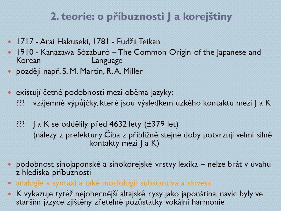 2. teorie: o příbuznosti J a korejštiny