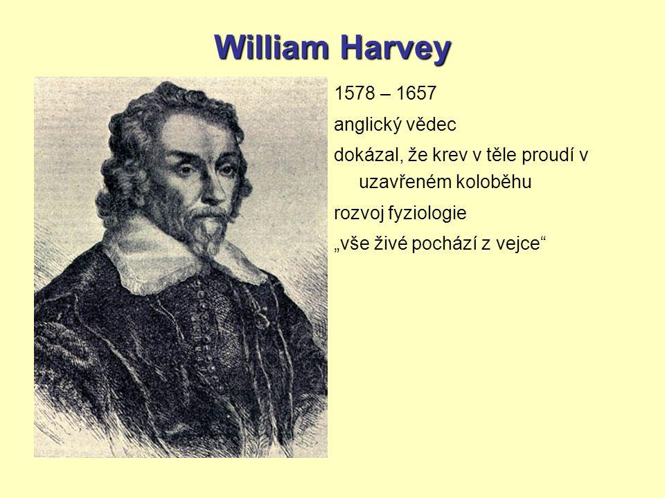William Harvey 1578 – 1657 anglický vědec