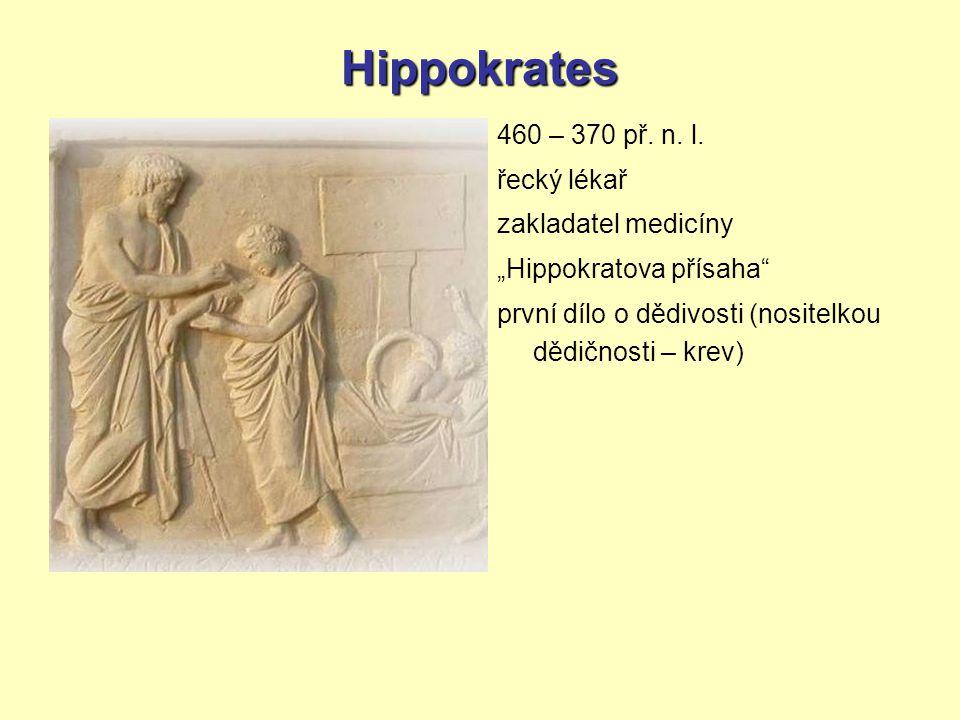 Hippokrates 460 – 370 př. n. l. řecký lékař zakladatel medicíny