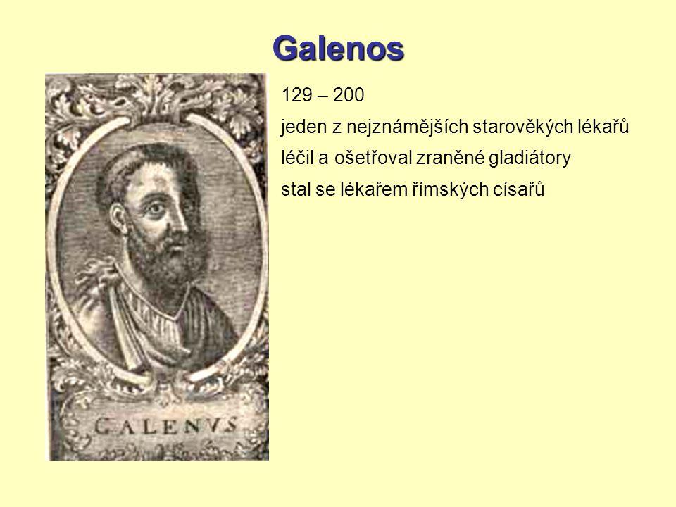 Galenos 129 – 200 jeden z nejznámějších starověkých lékařů