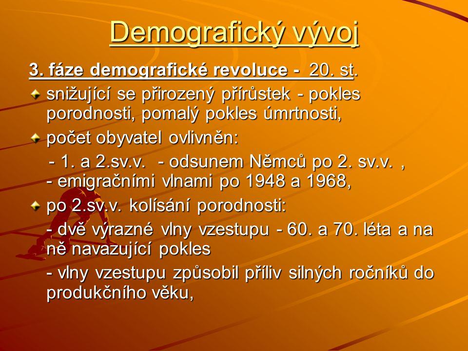 Demografický vývoj 3. fáze demografické revoluce - 20. st.