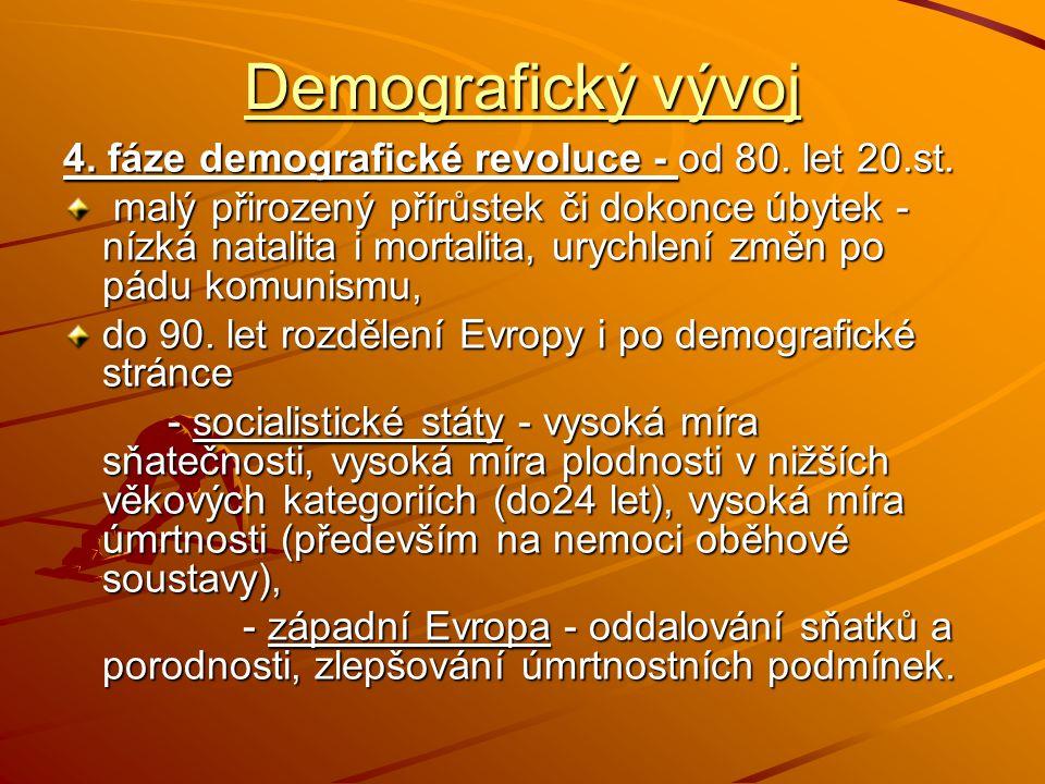 Demografický vývoj 4. fáze demografické revoluce - od 80. let 20.st.