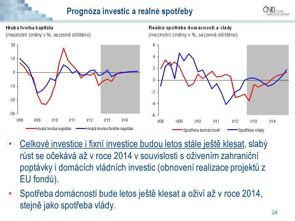 Prognóza investic a reálné spotřeby