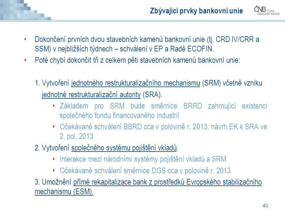 Zbývající prvky bankovní unie