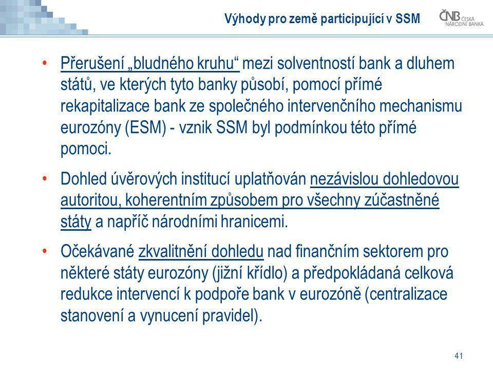 Výhody pro země participující v SSM