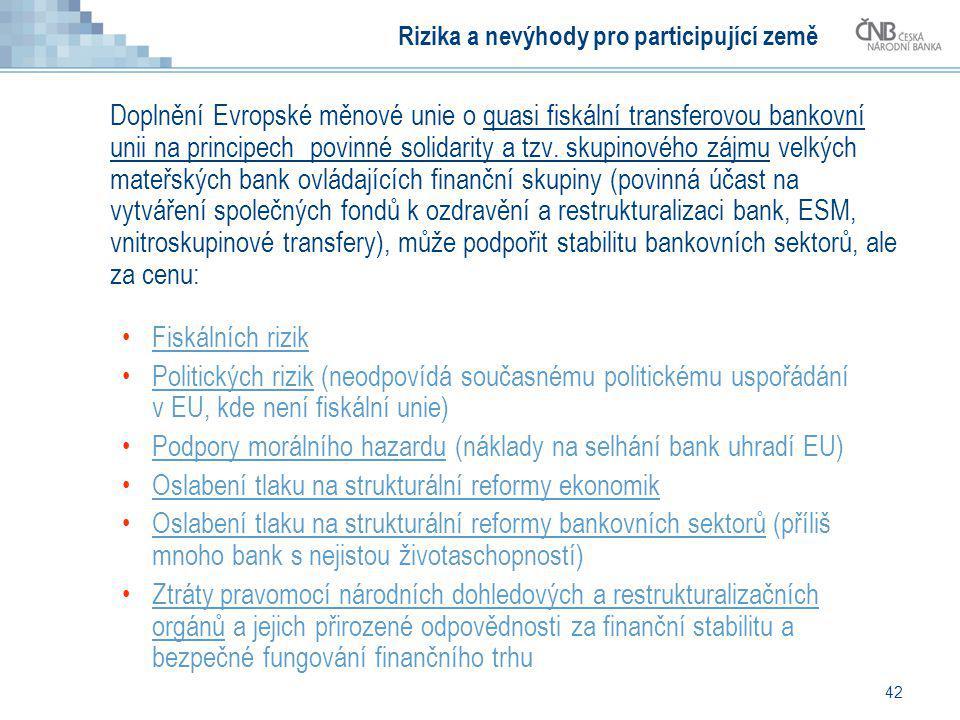 Rizika a nevýhody pro participující země