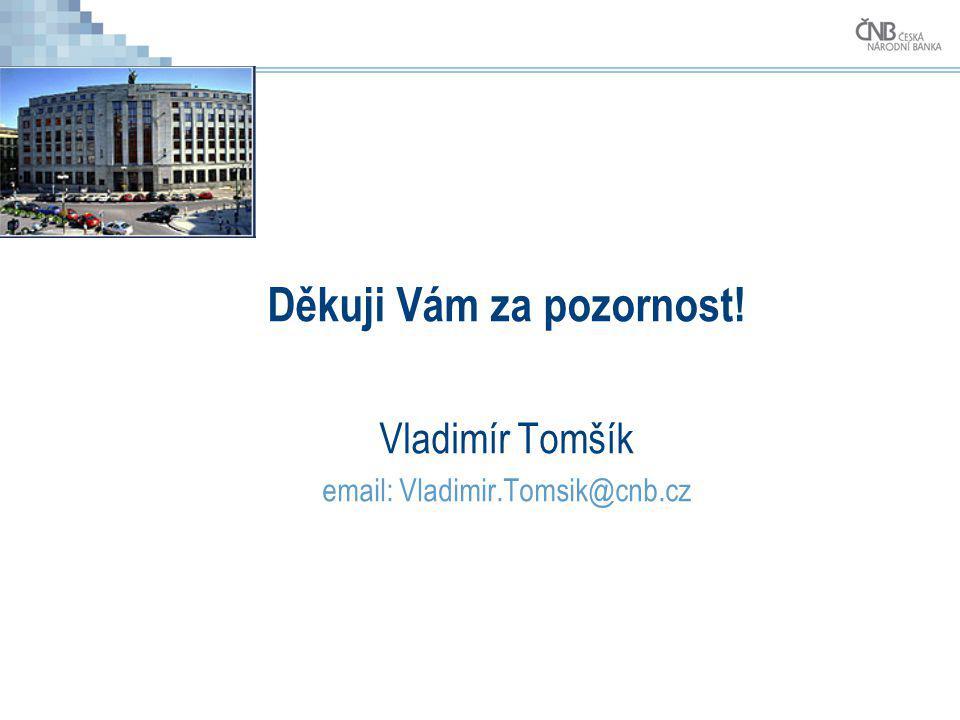 Děkuji Vám za pozornost! Vladimír Tomšík email: Vladimir.Tomsik@cnb.cz