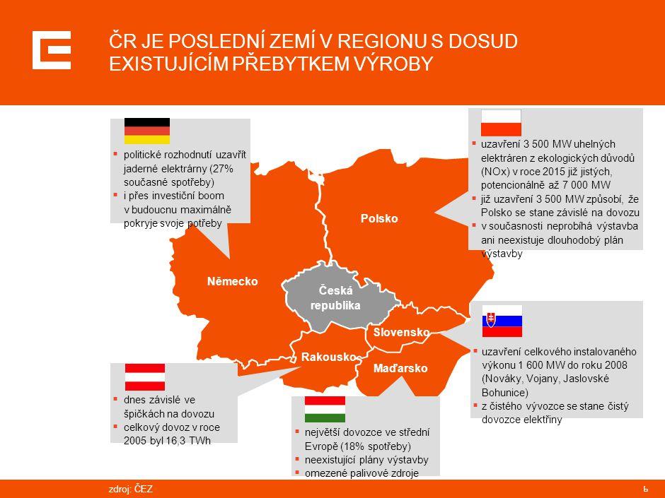 PRG-ZPD008-20041008-11373P1C Výroba elektřiny ČEZ, a.s., za rok 2006 dosáhla historického maxima 62 TWh.