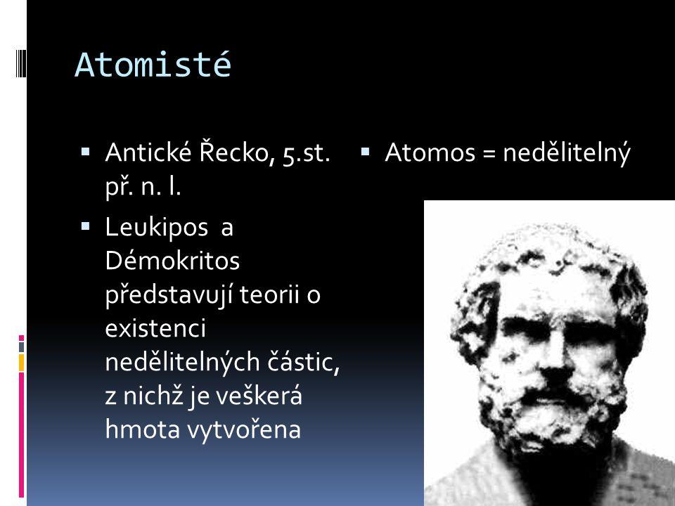 Atomisté Antické Řecko, 5.st. př. n. l. Atomos = nedělitelný