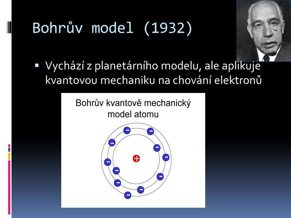 Bohrův model (1932) Vychází z planetárního modelu, ale aplikuje kvantovou mechaniku na chování elektronů.