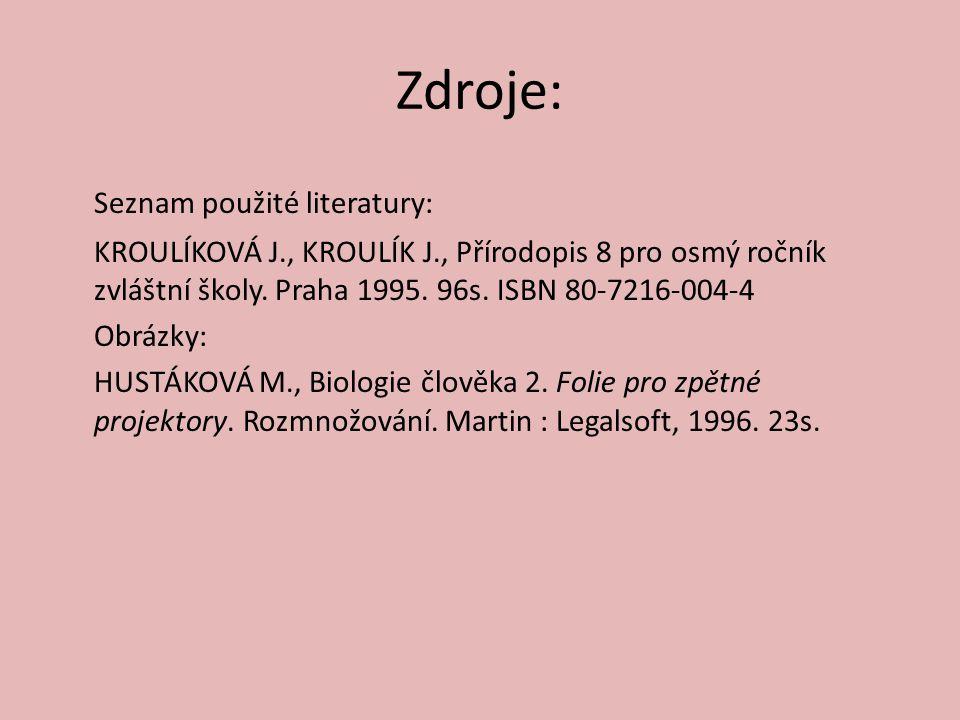 Zdroje: Seznam použité literatury: