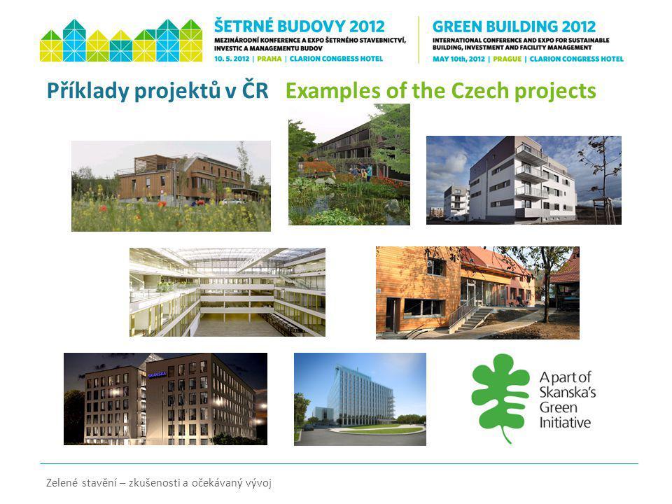 Příklady projektů v ČR Examples of the Czech projects