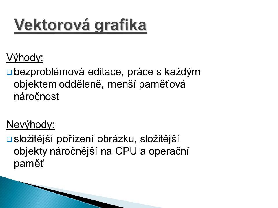 Vektorová grafika Výhody: