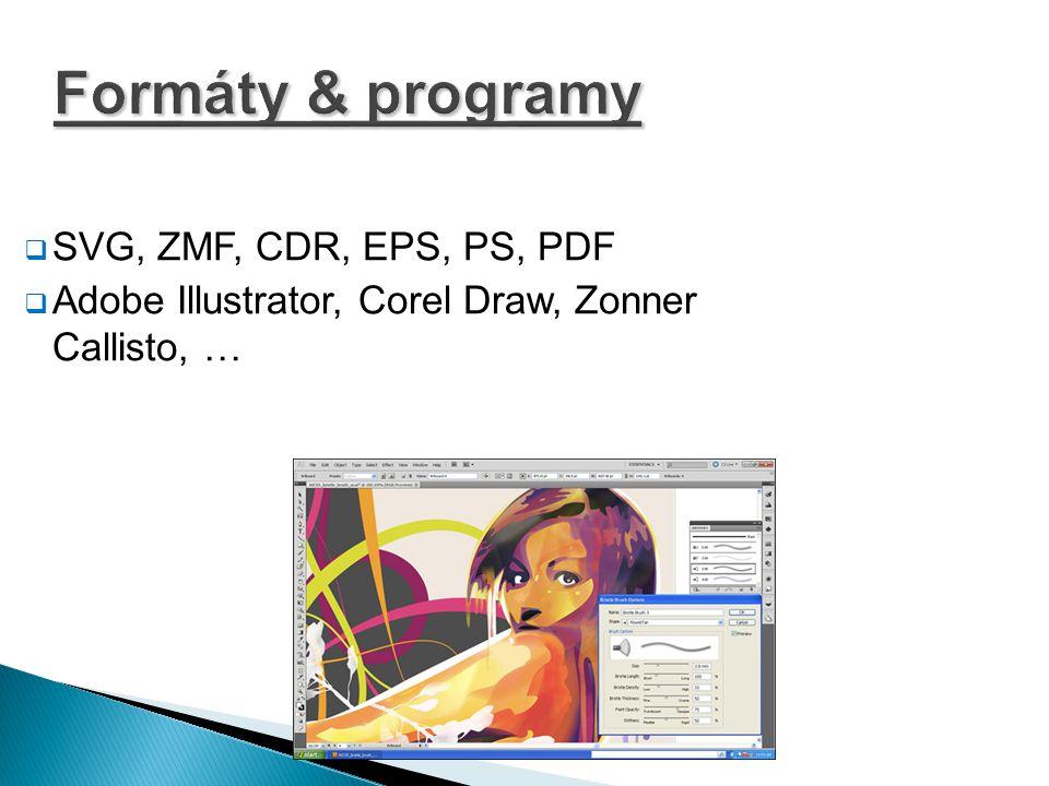 Formáty & programy SVG, ZMF, CDR, EPS, PS, PDF
