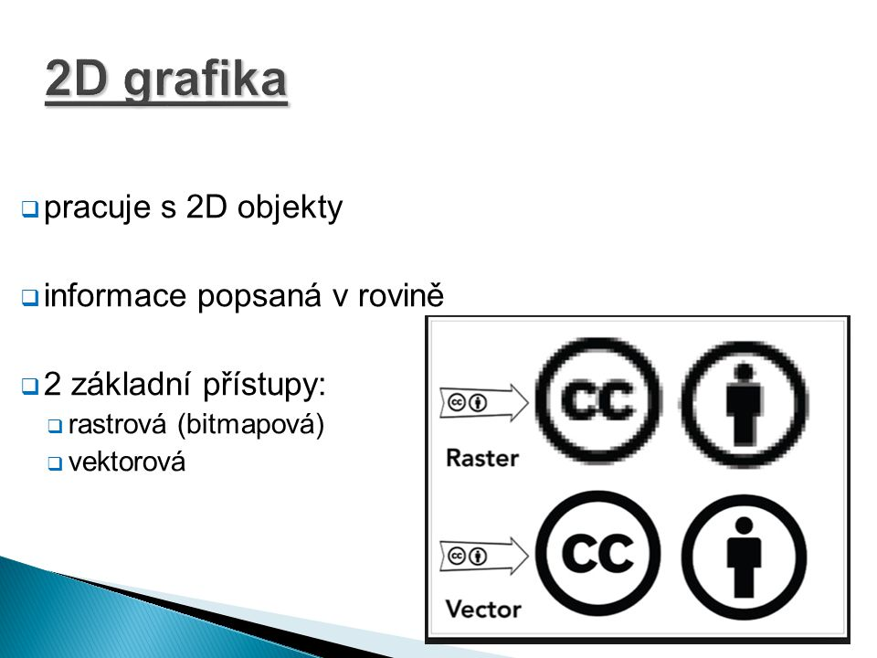 2D grafika pracuje s 2D objekty informace popsaná v rovině