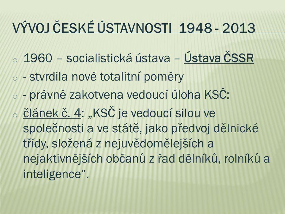 Vývoj české ústavnosti 1948 - 2013