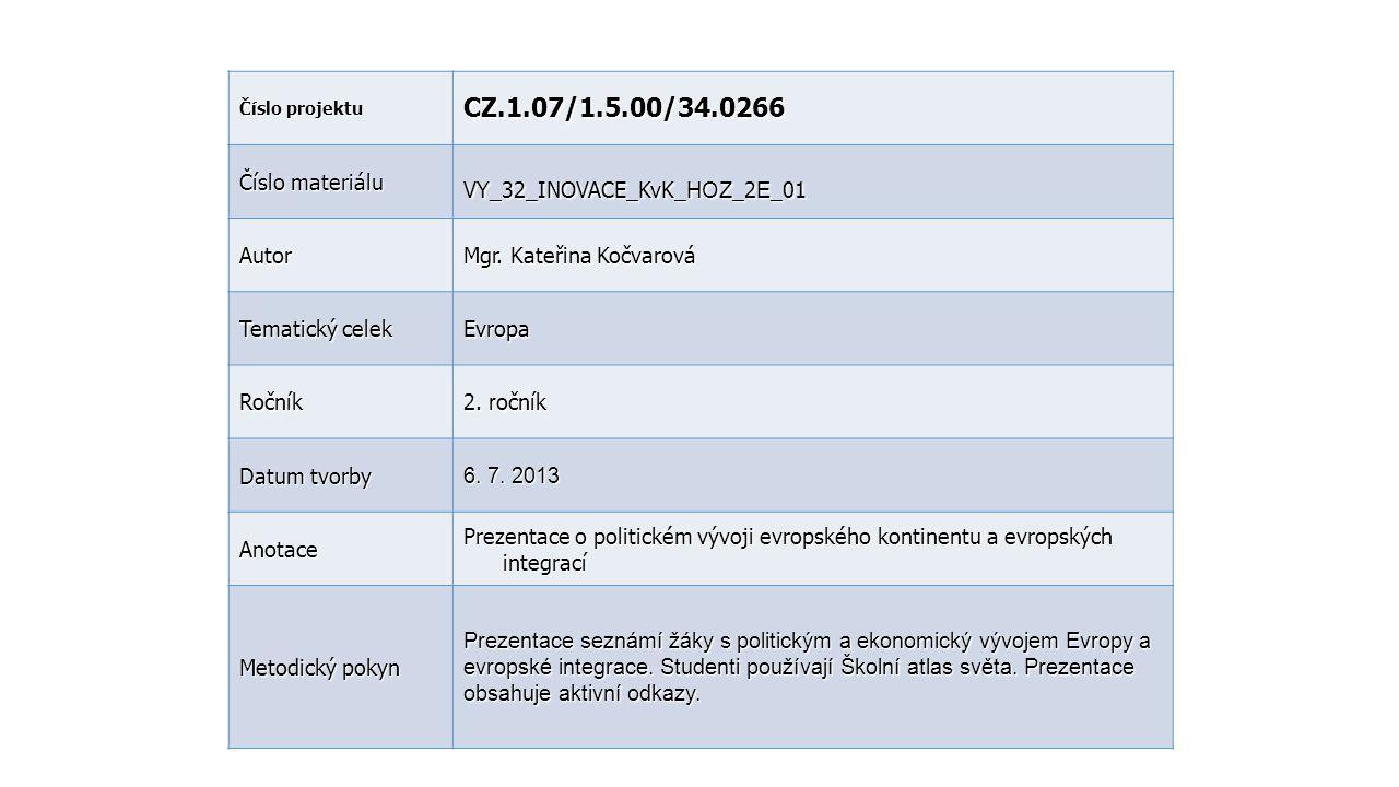 CZ.1.07/1.5.00/34.0266 Číslo materiálu VY_32_INOVACE_KvK_HOZ_2E_01