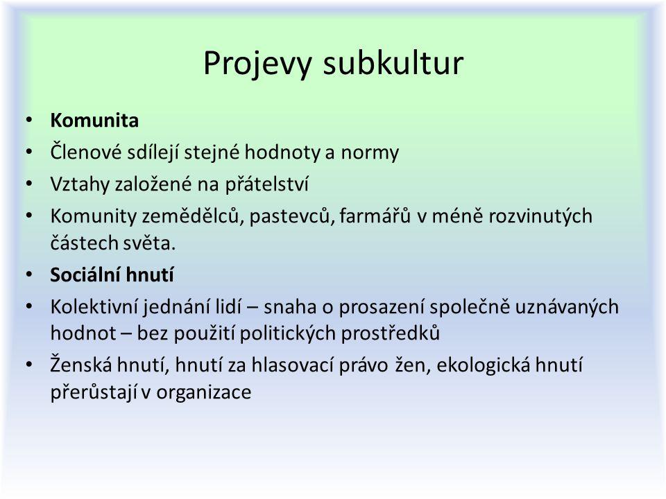 Projevy subkultur Komunita Členové sdílejí stejné hodnoty a normy