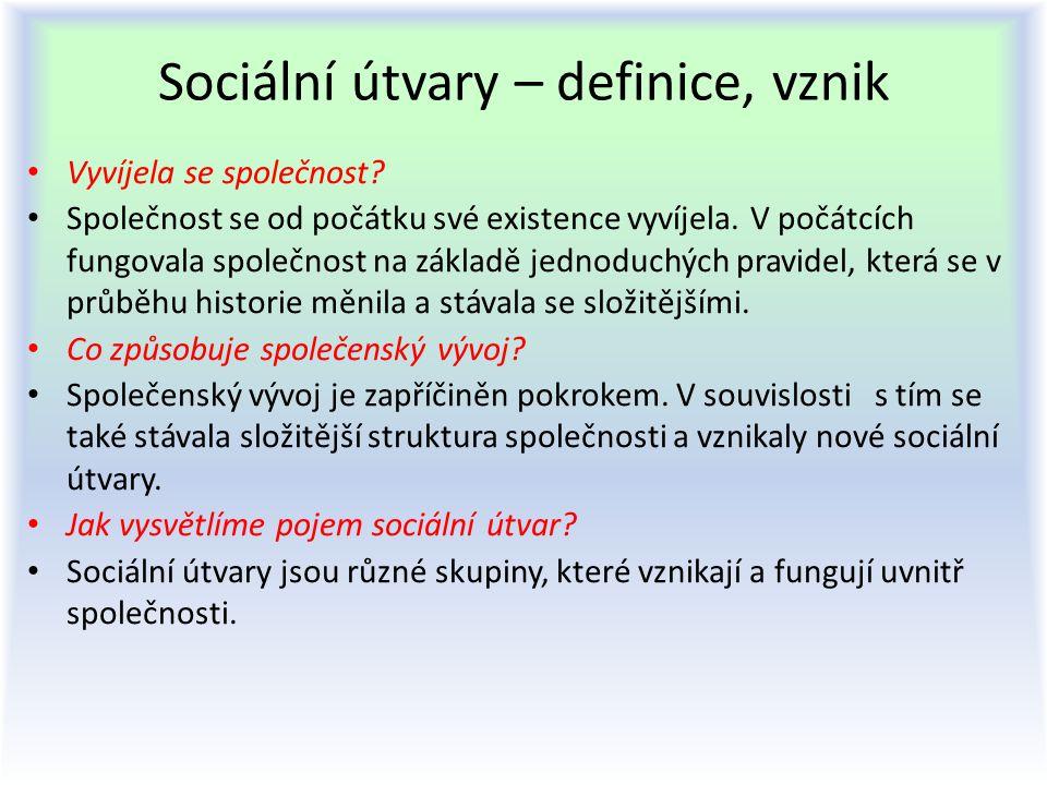 Sociální útvary – definice, vznik