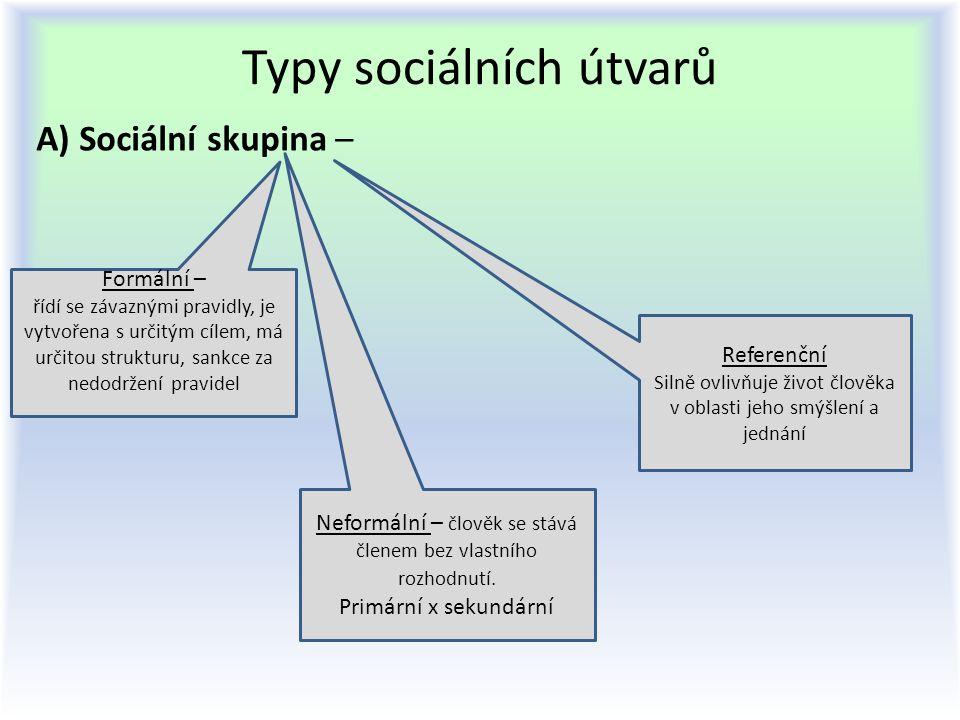Typy sociálních útvarů