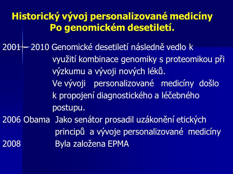 Historický vývoj personalizované medicíny Po genomickém desetiletí.