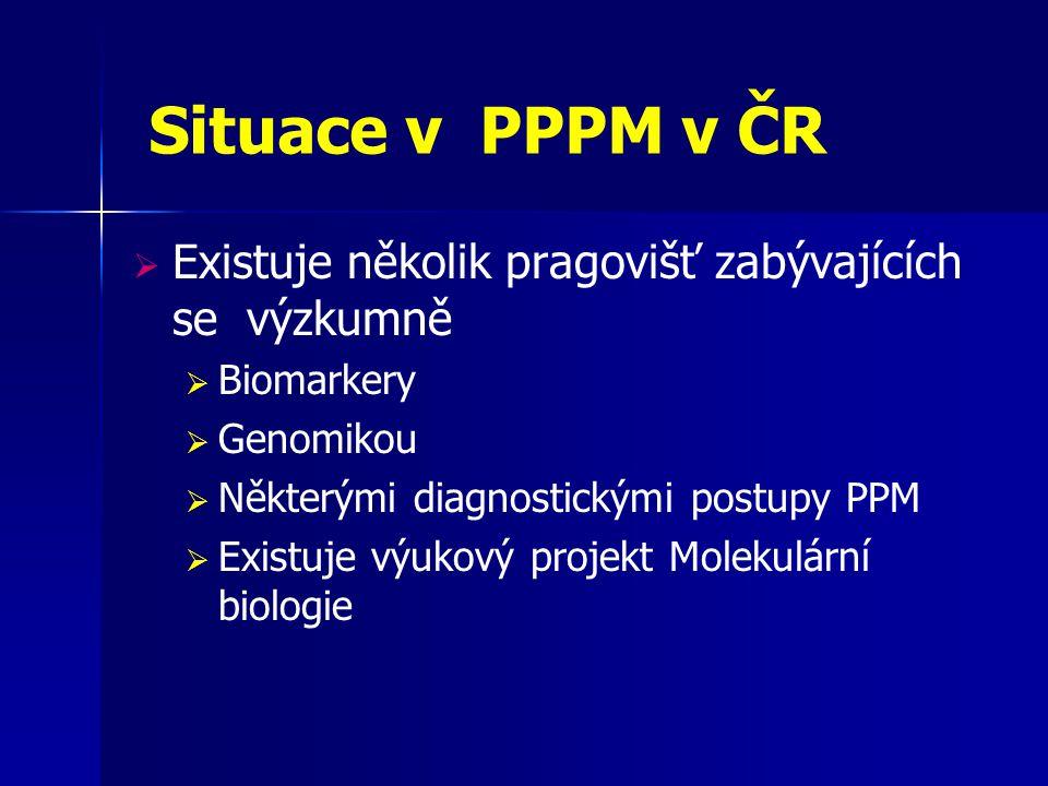 Situace v PPPM v ČR Existuje několik pragovišť zabývajících se výzkumně. Biomarkery. Genomikou.