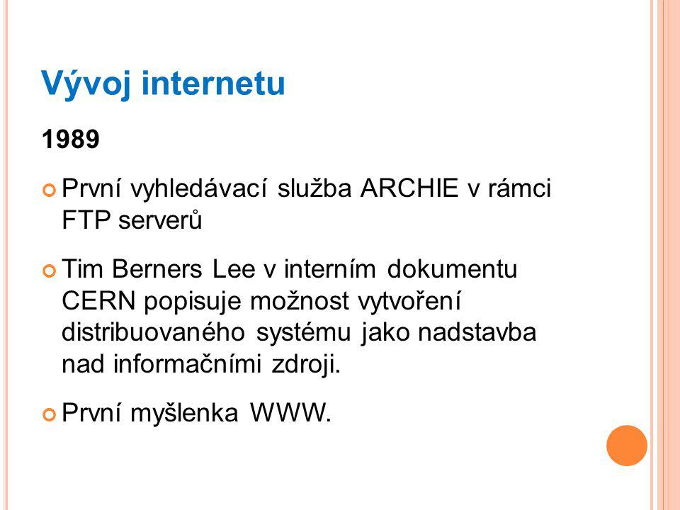 Vývoj internetu 1989. První vyhledávací služba ARCHIE v rámci FTP serverů.