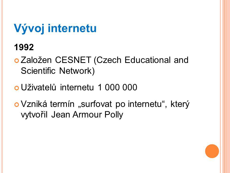 Vývoj internetu Založen CESNET (Czech Educational and Scientific Network) Uživatelů internetu