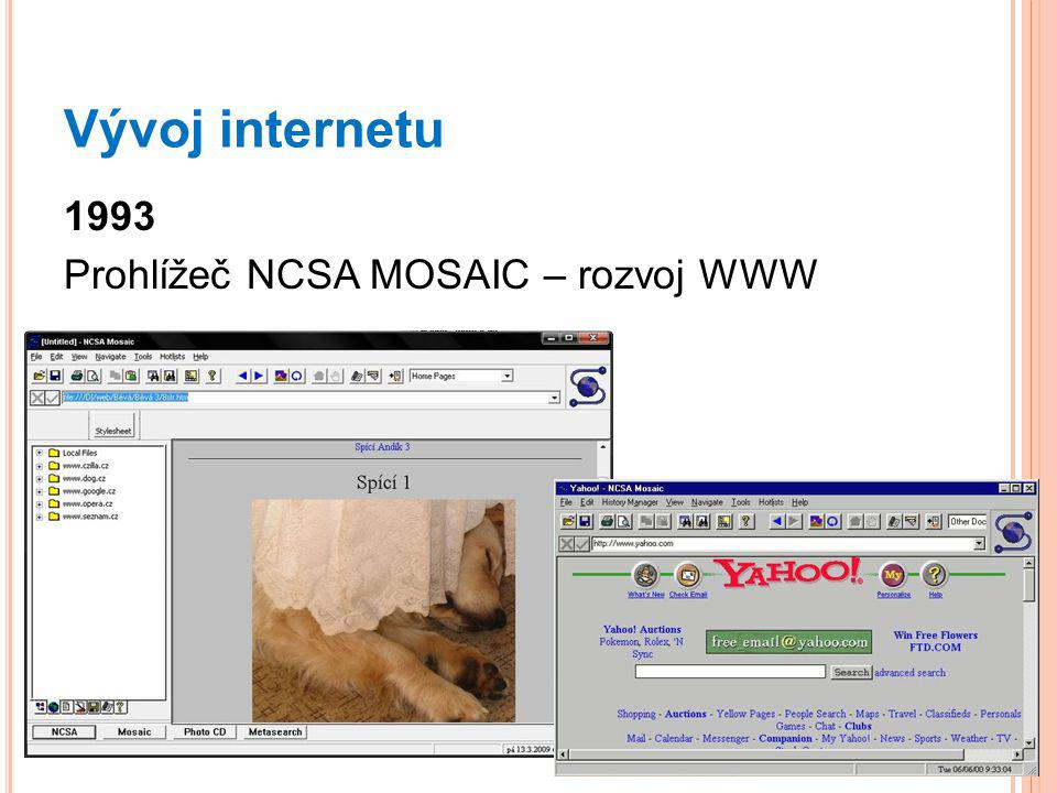 Vývoj internetu 1993 Prohlížeč NCSA MOSAIC – rozvoj WWW
