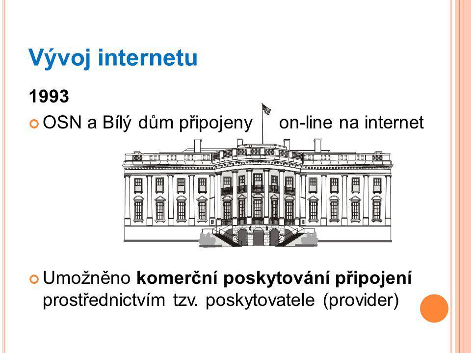 Vývoj internetu 1993 OSN a Bílý dům připojeny on-line na internet